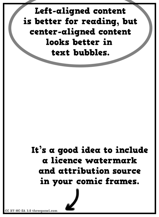 Left-aligned content is better for reading, but center-aligned content looks better in bubbles. It's a good idea to include a license watermark and attribution source in your comic frames.